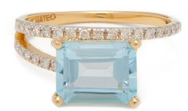 Mateo Point Of Focus Diamond, Topaz & 14kt Gold Ring - Blue