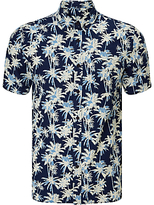 Edwin Standard Palm Tree Print Short Sleeve Shirt, Dark Indigo
