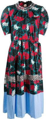 Marni Patchwork Leaf Print Midi Dress