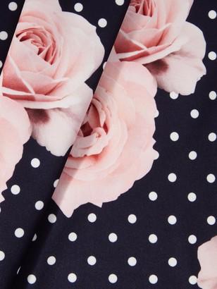 Quiz Polka Dot Floral Knot Front Dip Hem Dress - Navy