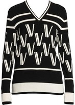 Valentino Double V Intarsia Knit Wool & Cashmere Sweater