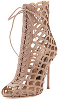 Sergio Rossi Laser-Cut Leather Lace-Up Sandal, Beige