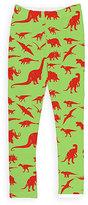 Urban Smalls Green & Red Dinosaur Leggings - Toddler & Girls