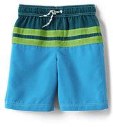 Classic Boys Husky Colorblock Stripe Swim Trunks-Rich Magenta