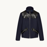 Maje Wool jacket with vinyl details
