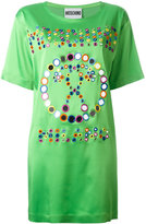 Moschino mirror embroidered logo T-shirt dress - women - Acetate/Rayon/other fibers/Montmorillonite (French Green ) Clay - 36