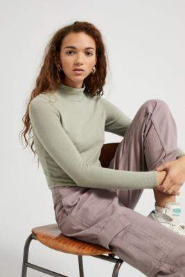 Urban Outfitters Cosy Funnel Neck Long Sleeve Top - grey XS at