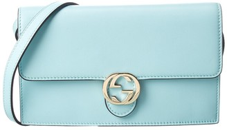 Gucci Light Blue Leather Wallet On Chain