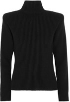 Thierry Mugler Ribbed Wool And Cashmere-blend Sweater - Black