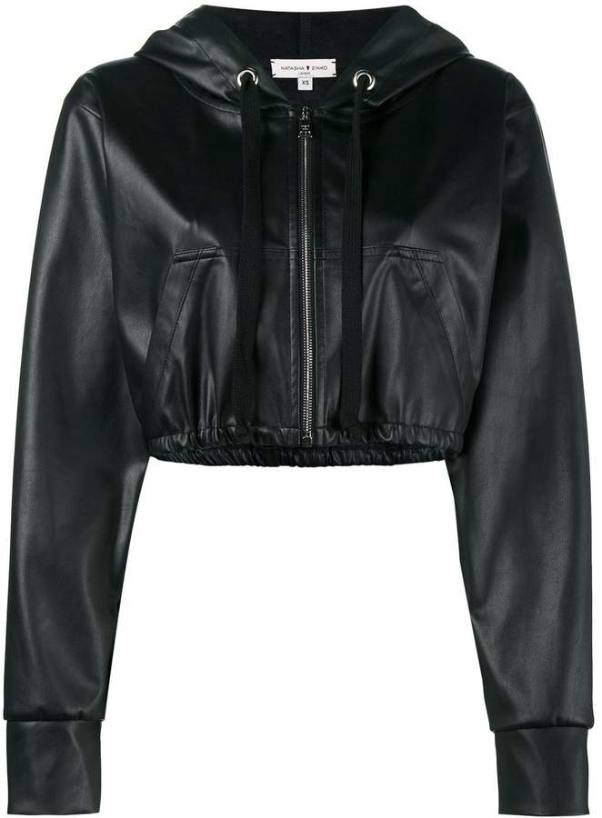 e216a5b1537 cropped faux leather hooded jacket