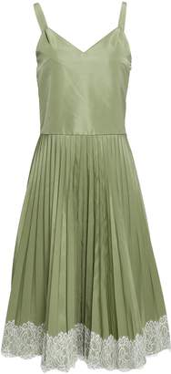 RED Valentino Lace-trimmed Pleated Faille Dress
