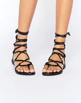 Truffle Collection Beryl Tie Plaited Flat Sandals