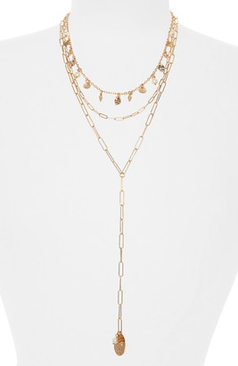 BP Mixed Shell & Imitation Pearl Multistrand Y-Necklace