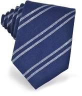 Forzieri Blue and White Diagonal Striped Woven Silk Tie