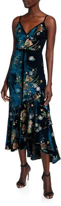 Marchesa Embroidered High-Low Sleeveless Velvet Cocktail Dress w/ Cascading Hem