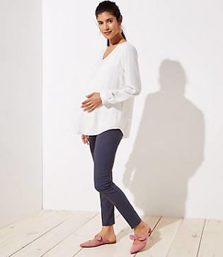 LOFT Petite Maternity Skinny Ankle Pants