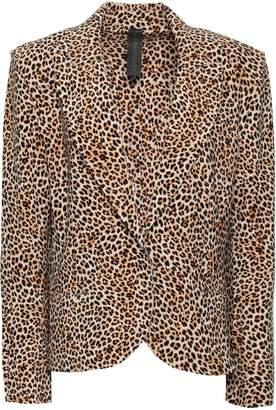 Norma Kamali Leopard-print Stretch-knit Blazer