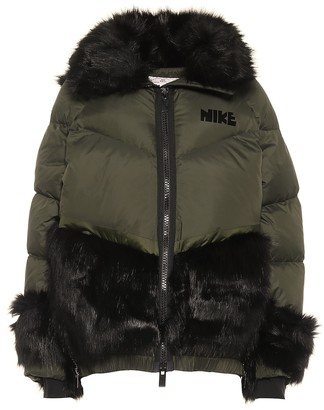 Nike X Sacai Faux Fur-Trimmed Down Jacket