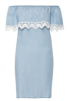 Quiz Blue Chambray Lace Trim Bardot Dress