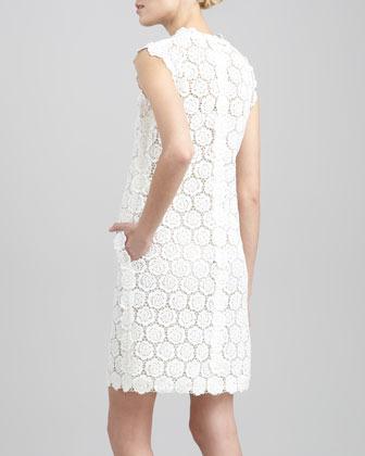 Valentino Rose Guipure Lace Shift Dress, Ivory