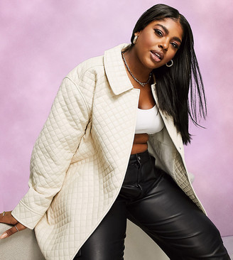 ASOS DESIGN Curve quilted leather look jacket in cream