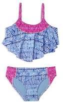 Gossip Girl Girls' Printed Flounce 2-Piece Swimsuit - Big Kid