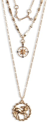 Knotty Astrological Layered Pendant Necklace