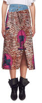 Stella McCartney Avery Dutch Fan-Print Asymmetric Midi Skirt