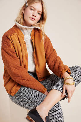 On The Road Marigold Quilted Bomber Jacket