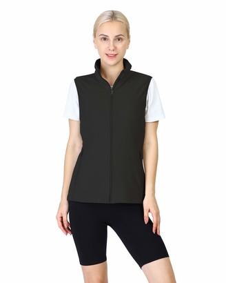 Outdoor Ventures Women's Zip Up Ultra Lightweight Soft Fleece Vest Outerwear Casual Travel Vest with Pockets for Spring & Summer-2XL Black