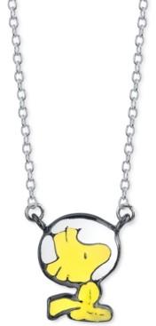 "Peanuts Unwritten Astronaut Woodstock Pendant Necklace in Fine Silver-Plate, 16"" + 2"" extender"