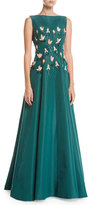 Lela Rose Tulip-Embroidered Silk Gown