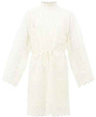 Gucci GG Cotton-blend Chantilly-lace Dress - Womens - Ivory