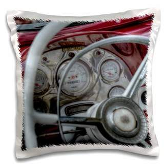 3drose 3dRose RED DASH OF OLD CAR WITH SPEEDOMETER - Pillow Case, 16 by 16-inch