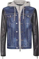 DSQUARED2 Rear Logo Patched Denim & Leather Jacket