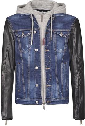 DSQUARED2 Rear Logo Patched Denim & Leather Jacket