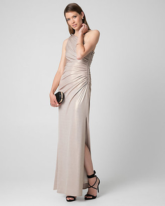 Le Château Foil Knit One Shoulder Ruched Gown