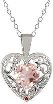 Gem Stone King 0.71 Ct Heart Shape Rose Rose Quartz Red Garnet Sterling Silver Pendant