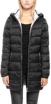 Point Zero Black Ribbed-Back Hooded Puffer Jacket