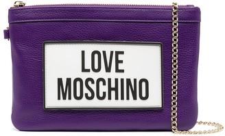 Love Moschino Logo-Print Clutch