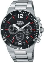coloured watches chronographs shopstyle uk pulsar black dial chronograph stainless steel bracelet mens watch