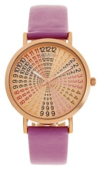 Crayo Unisex Fortune Purple Genuine Leather Strap Watch 38mm