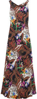 Etro Open-back Printed Silk-crepe Gown - Brown