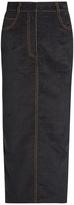 Isa Arfen Velvet-touch denim pencil skirt