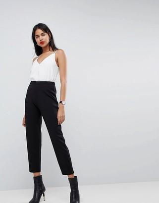 Asos DESIGN pull on tapered black pants in jersey crepe