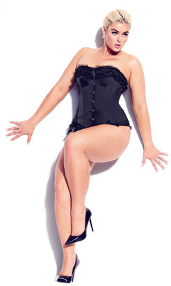 City Chic Milly Bow Satin Corset - black