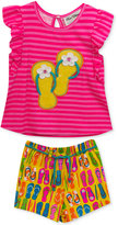 Rare Editions 2-Pc. Cotton Striped Flip-Flop Top & Shorts Set, Baby Girls (0-24 months)