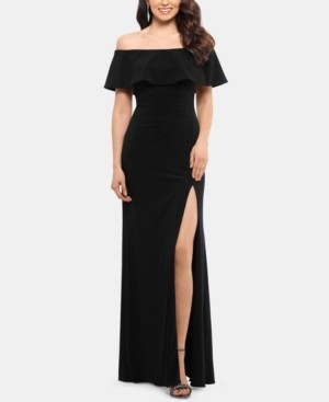 Xscape Evenings X by Ruffled Off-The-Shoulder Gown