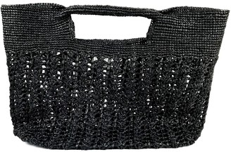 Maraina London Ines Odette Raffia Beach Bag Black