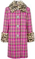 Marc Jacobs checked tweed coat - women - Silk/Rabbit Fur/Nylon/Virgin Wool - 0